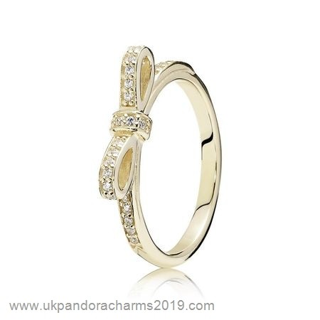 Pandora Shop Sale Pandora Collections Sparkling Bow Ring Clear Cz 14K Gold