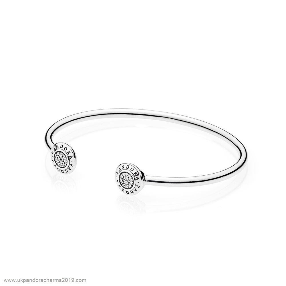 Pandora Shop Sale Pandora Bracelets Open Banglepandora Signature Bangle Bracelet Clear Cz