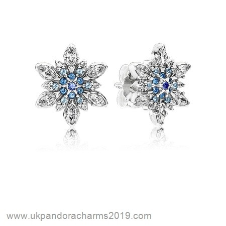Pandora Shop Sale Pandora Earrings Crystalized Snowflake Stud Earrings Blue Crystals Clear Cz