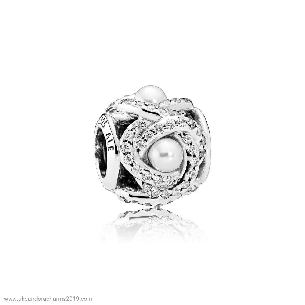 Pandora Shop Sale Pandora Wedding Anniversary Charms Luminous Love Knot White Crystal Pearl Clear Cz